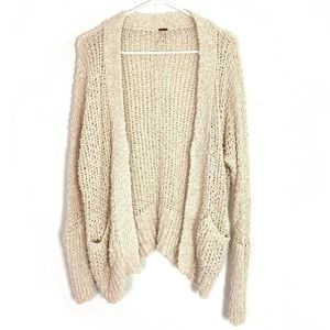 Free People Chunky Cotton Cardigan Sweater Ivory